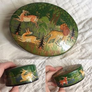 Vintage Hand Painted India Animals Jewelry Box